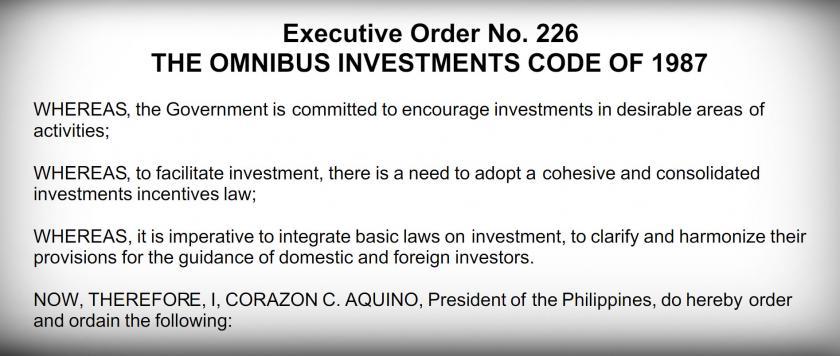 executive order 226 omnibus investment code