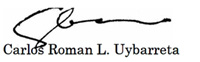 Signature, House COE Vice Chair Carlos Roman Uybarreta